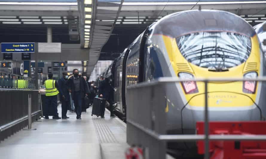 Passengers board Eurostar