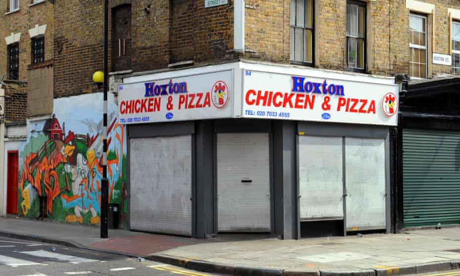 A takeaway shop in the gentrified neighbourhood of Hoxton, east London.