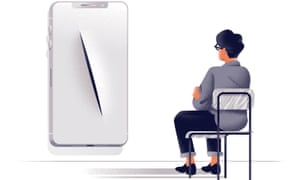Illustration of woman sitting on a chair facing a smartphone cover with a slash in it