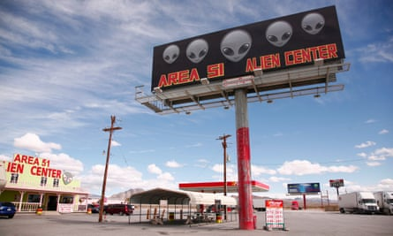 'Let's see them aliens' … a tourist attraction at a gas station near Area 51 in Amargosa Valley, Nevada, US.