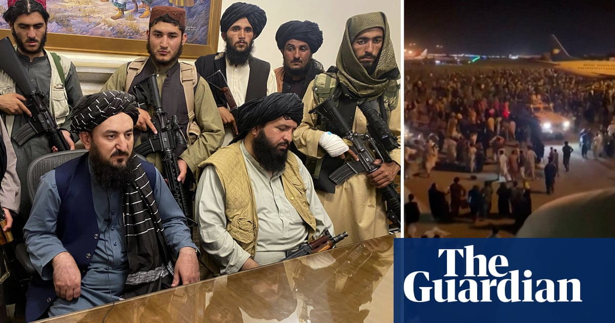 Chaos at Kabul airport as Taliban seize control of Afghan capital – video