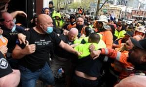 Monday's violent protest outside the CFMEU headquarters