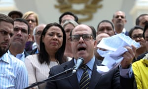 Julio Borges, president of the national assembly, speaks during a news conference in Caracas.