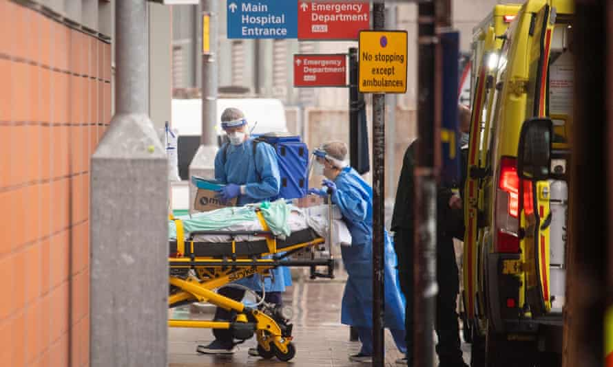 Medical staff outside the Royal London Hospital, 13 January 2021.