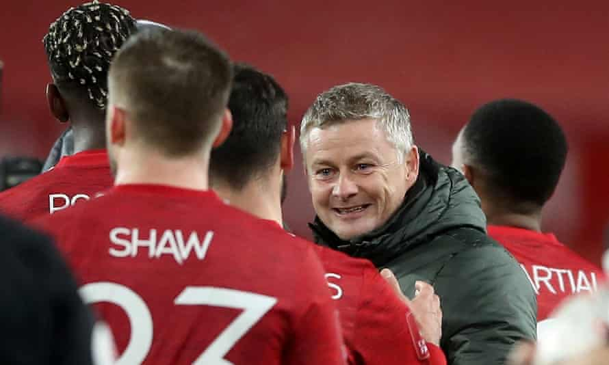 Ole Gunnar Solskjær enjoys January's FA Cup win over Liverpool, one of the teams he expects to contend for the title.
