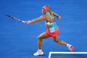 Angelique Kerber fires over a backhand against Serena Williams.