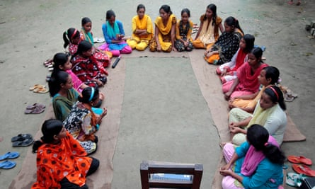 Girls from the remote village of Saghata in Bangladesh hold a courtyard meeting to learn about reproductive health and contraceptive use. Women in conflict situations are all too often reproductive health services.