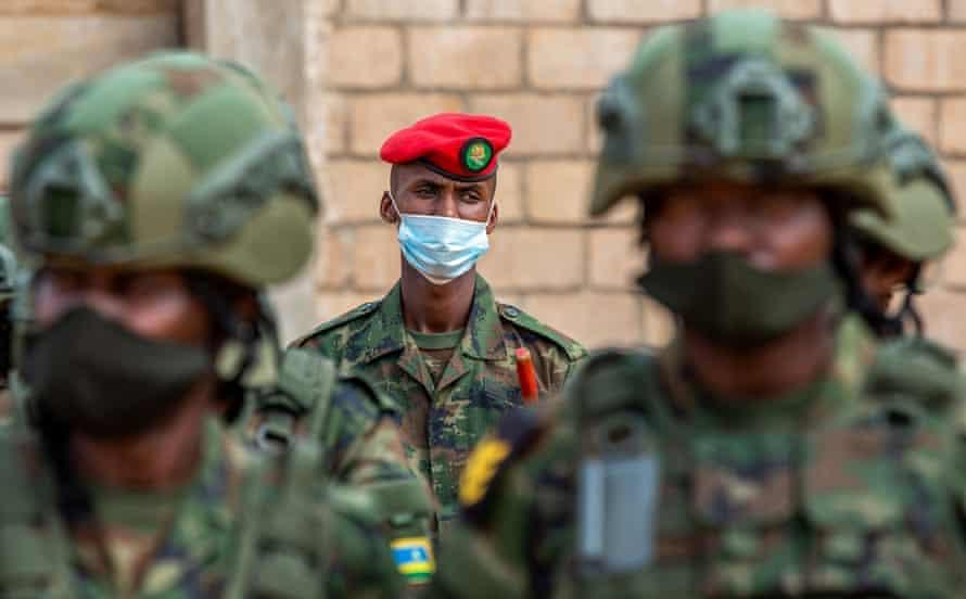 Rwandan military troops depart for Mozambique, at the Kigali International Airport, Rwanda.