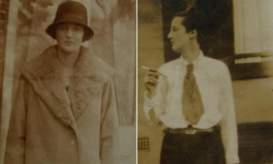 Left: the young Molly Ackland. Right: Valentine Ackland, with cropped hair and man's necktie, holding a cigarette.