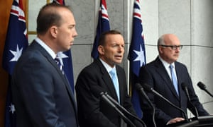 Minister for immigration Peter Dutton, PM Tony Abbott and attorney general George Brandis
