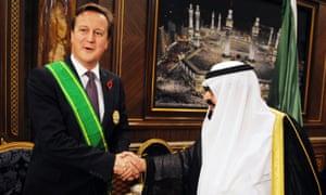 David Cameron and King Abdullah of Saudi Arabia pictured in 2012