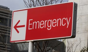 Hospital emergency sign, at St Vincents Hospital, Sydney, Australia. 23 March 2020