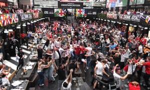 England fans at BOXPARK Croydon watching the Italy v England, UEFA Euro 2020.