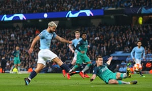 Sergio Aguero slams in Manchester City's fourth goal .