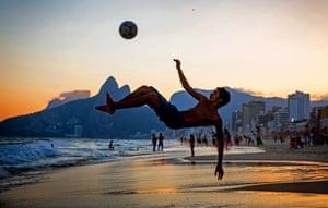 World Cup beach football on Ipanema