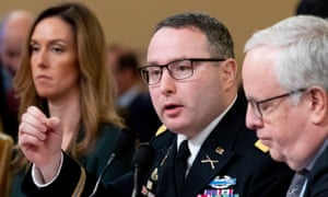 Lt Col Alexander Vindman testifies beside his attorney, Michael Volkov, right, and Mike Pence's special adviser for Europe and Russia, Jennifer Williams.
