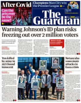 Guardian front page, Wednesday 12 May 2021