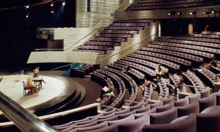 The interior of the Olivier theatre at the National Theatre, London.