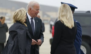 US President Joe Biden and first lady Jill Biden arrive to board Air Force One at Andrews Air Force Base, for a trip to Dover Air Force Base on Sunday.