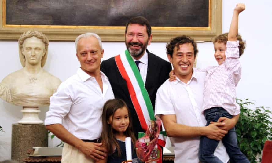 Rome's mayor, Ignazio Marino, with Tommaso Giartosio and Gianfranco Goretti