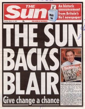 The Sun tells its readers to vote Labour in 1997.