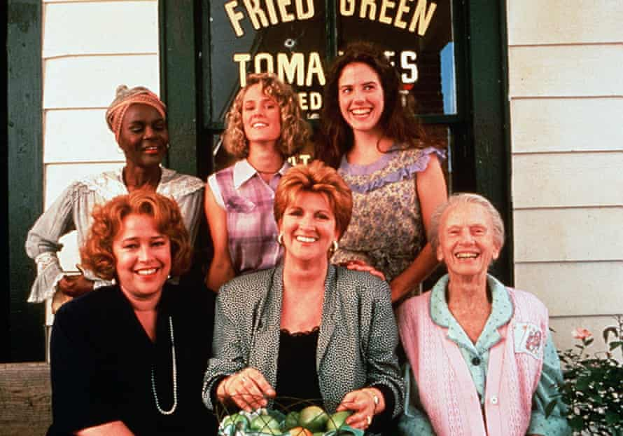 Cicely Tyson, back row, left, as Sipsey with cast members of Fried Green Tomatoes at the Whistle Stop Cafe, 1991: standing from left, Mary Stuart Masterson and Mary-Louise Parker; and, sitting from left, Kathy Bates, Fannie Flagg and Jessica Tandy.
