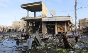 A site in Raqqa hit by what activists said were airstrikes