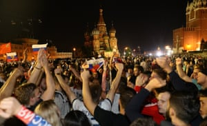 Russia fans near Red Square enjoy the party on Sunday night.