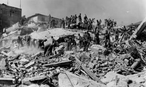 Soldiers dig for bodies in the ruins left by the earthquake of 1963.