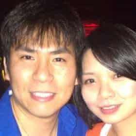 Walter Huang, who died in the Tesla crash, with his wife.