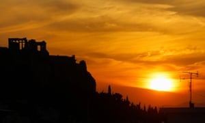 Sunset over the Acropolis in Athens