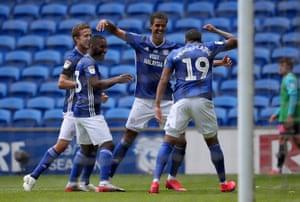 Cardiff's Robert Glatzel celebrates after his goal.