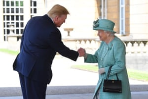 Trump is greeted by the Queen at Buckingham Palace