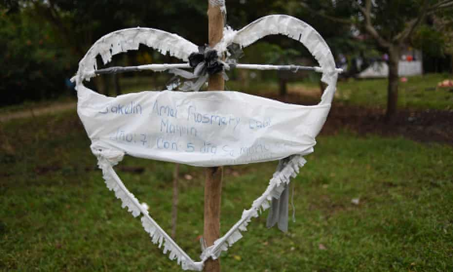 A heart-shaped sign with the name of Jakelin Amei Rosmey Caal Maquin at her family house in Raxruhá, Guatemala announces her death.
