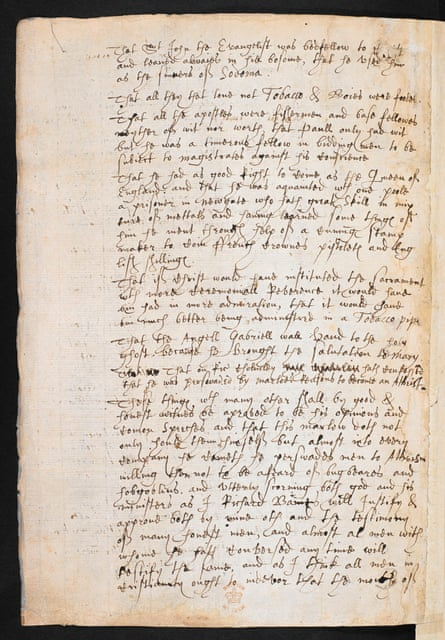 The Baines note, containing accusations against Christopher Marlowe.