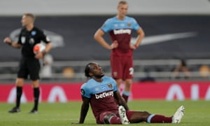 West Ham's Michail Antonio reacts at full time.