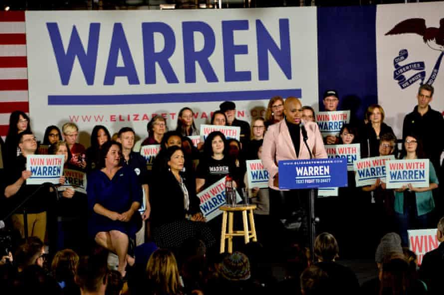 Congresswoman Ayanna Pressley campaigns for Senator Elizabeth Warren in Des Moines, Iowa, on 31 January.