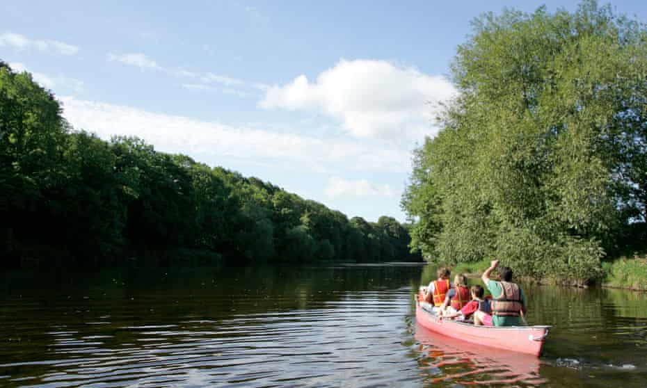Canoeing on the Wye near Hay-on-Wye.