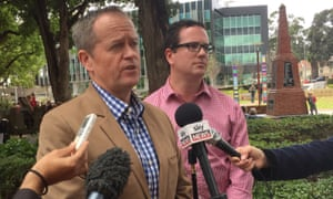 The opposition leader, Bill Shorten, standing with Labor Canning candidate, Matt Keogh, in Armadale on Saturday.