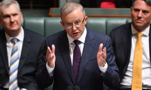 Labor leader Anthony Albanese during his budget reply speech on Thursday.