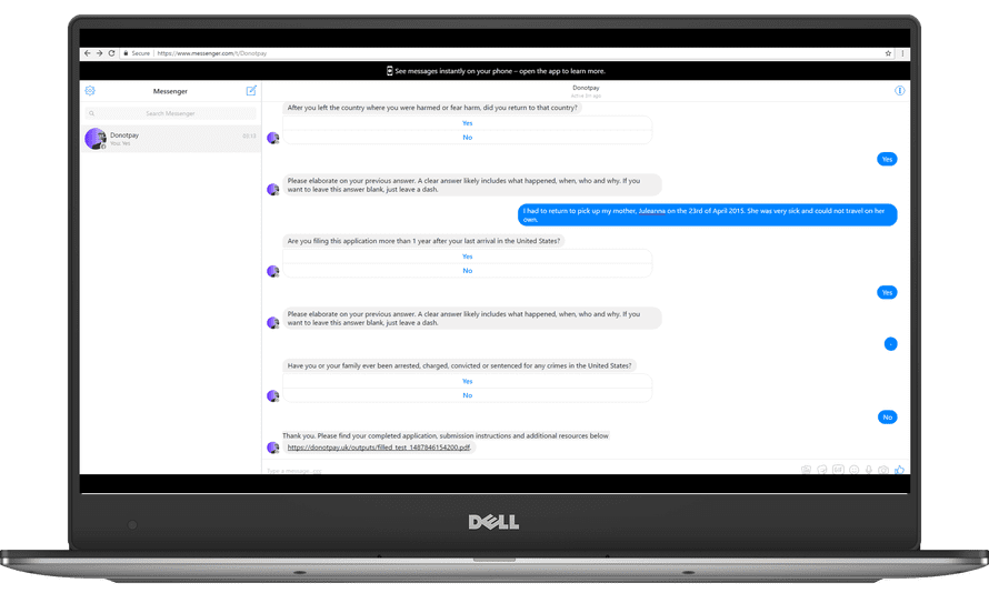 The DoNotPay chatbot shown on a laptop computer.