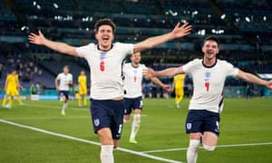 Harry Maguire of England celebrates with Declan Rice after scoring their side's second goal.