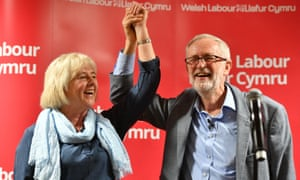 Newport West parliamentary candidate Ruth Jones with Jeremy Corbyn on 30 March.