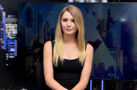 Canadian far-right political activist Lauren Southern at the Courier-Mail office in Brisbane on 13 July.