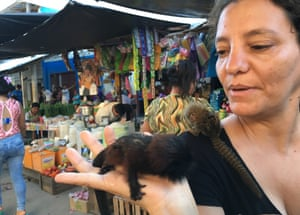 Conservationist Noga Shanee holds a baby Saddle-backed Tamarin with an infant pygmy marmoset on her shoulder in Belén market