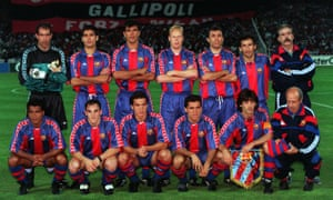 Pep Guardiola, back row, second left, and Ronald Koeman, back row, fourth left, line up for a team photo with Barcelona in the 1994 Champions League final