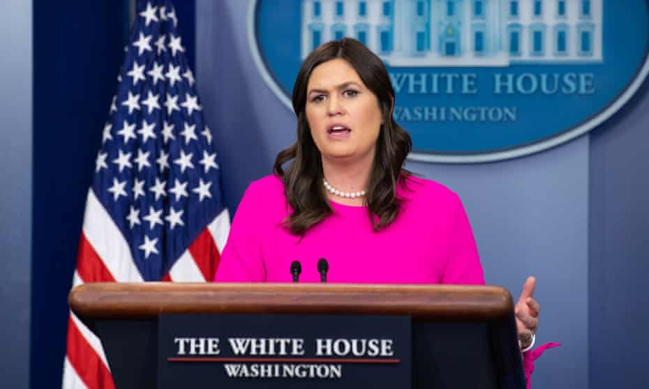 Sanders at a White House press briefing
