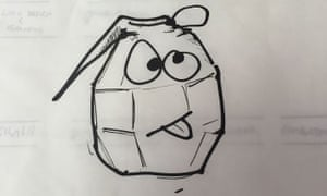 felt tip doodle of a grenade with a face