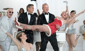 George Clooney, Bill Murray and Miley Cyrus in A Very Murray Christmas.