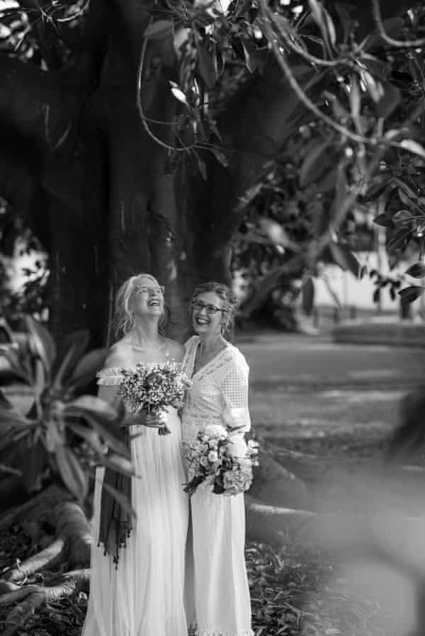 Tricia and Cynthia photographed on their wedding day. For Guardian Australia same-sex marriage feature
